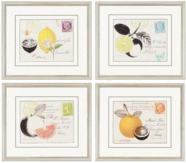 Fruit Letters Wall Art - Regular Of 4 - Set Of 4, White
