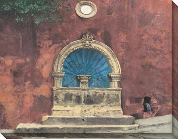 """""""fuente San Miguel Canvas Wall Art - 46""""""""hx36""""""""w, Coral"""""""