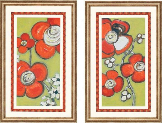 Funky Flowers Wall Art - Set Of2  - Set Of Two, Lime Green