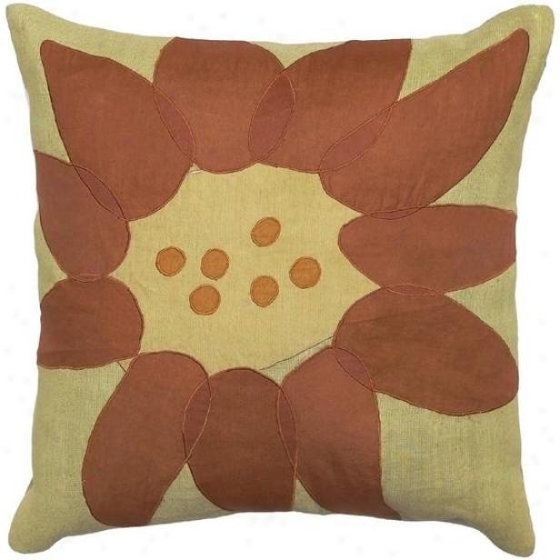 """fusion Pillows - Set Of 2 - 18""""x18"""", Limeade/rust"""