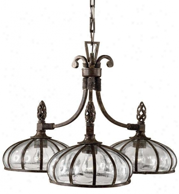 """galeana 3-light Chandelier - 19""""hx28""""d, Black"""