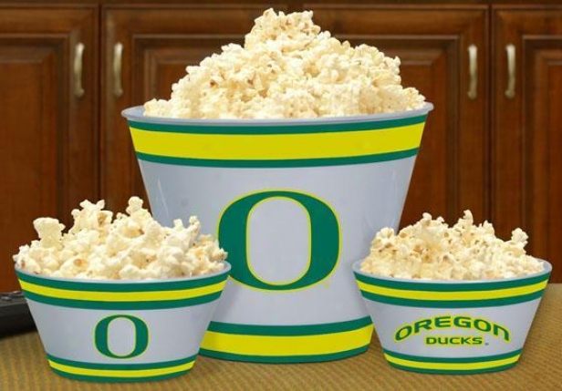 Gameday College Popcorn Bowls - Set Of 3 - Society Teams, Green