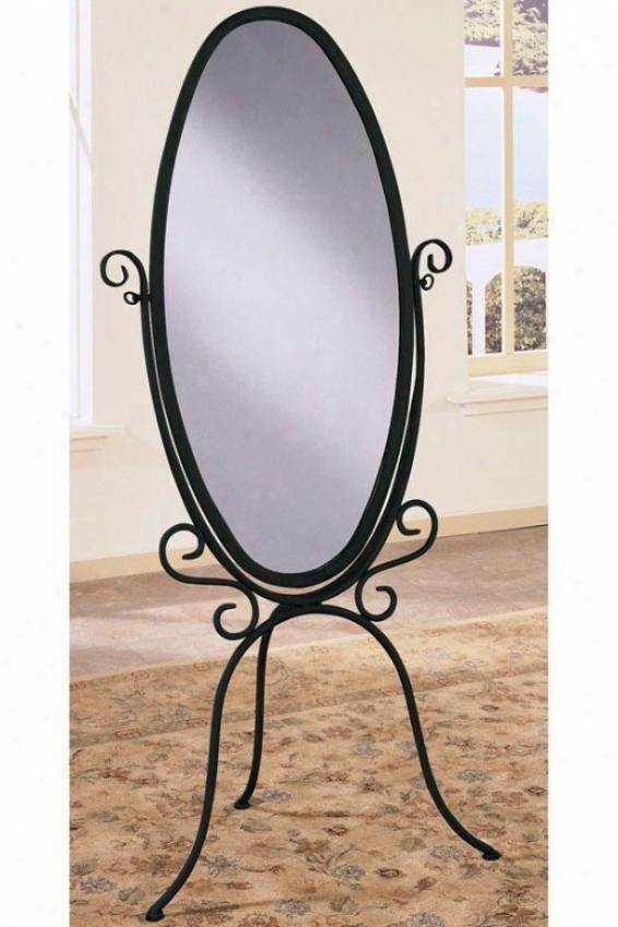 """""""garden District Scroll Cheval Mirror - 6.025""""""""hx27""""""""w, Black"""""""