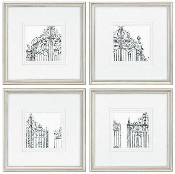 Gates Wall Art - Set Of 4 - Set Of 4, Ivory
