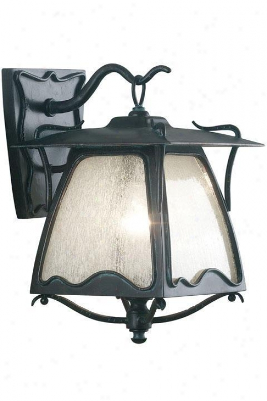 Gaudi Large Wall Lantern - Frosted Seeded, Ebony Pearl