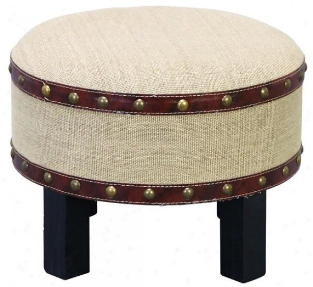 """gavin Ottoman Stool - 12""""hx16""""diametr, Canvas"""