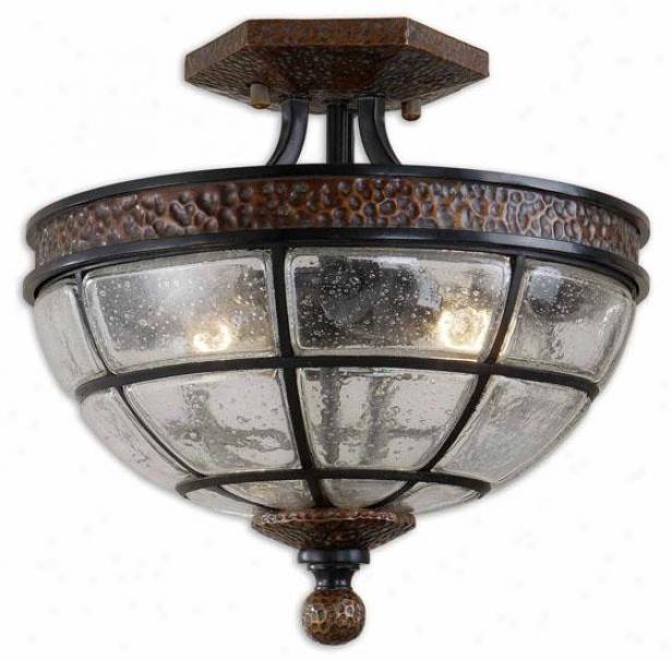 Gelati Semi-flush Mount - 2 Light, Antiqued Copper
