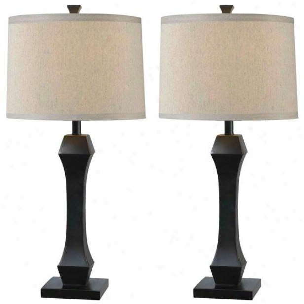 """gemini Table Lamp - Set Of 2 - 29hx14""""w Set/2, Oil Rub Bronze"""