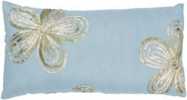 Gemma Pillow - 11hx21w, Blue Polyester