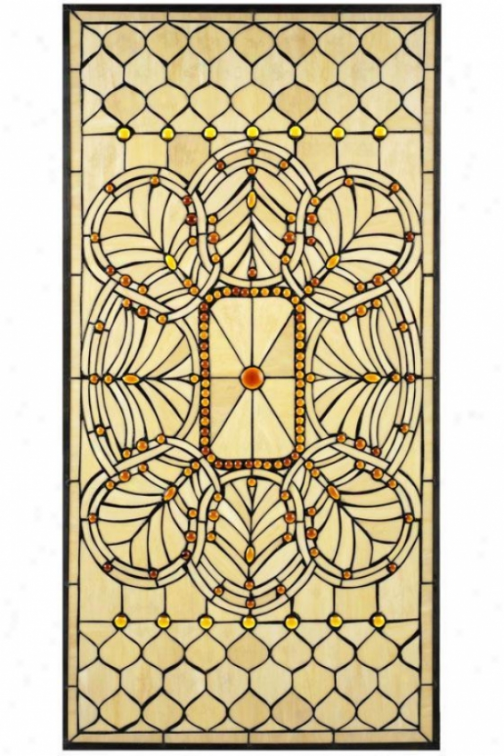 """geneva Stained Art Glass Window Panel Large Rectangle - 40""""hx20""""w, Copper"""