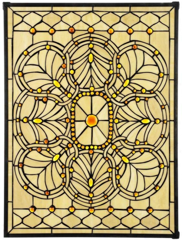 """geneva Stained Practical knowledge Glass Window Panel Intervening substance Rectangle - 24""""hx18""""w, Copper"""