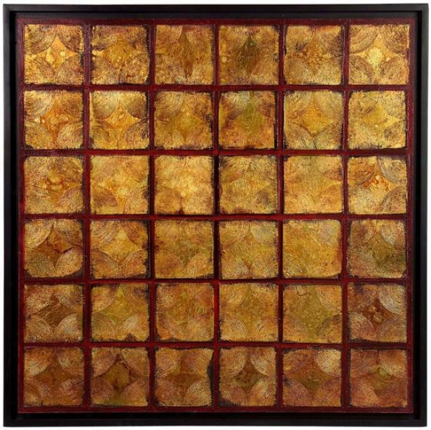 """""""geo Squares Framed Oil Painting - 39"""""""" Squard, Brown"""""""