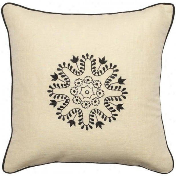 """geomatriex Pillows - Set Of 2 - 18""""x18"""", Ecru/black"""