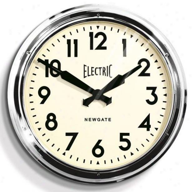 """giant Electric Wall Clock - 23.5""""d, Sllver"""