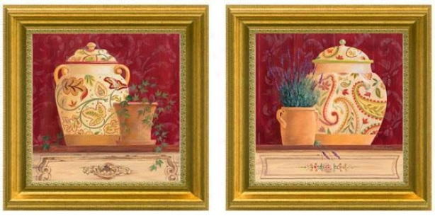 Ginger Jar Still Life Framee Wall Art - Set Of 2 - Set Of Two, Burgundy