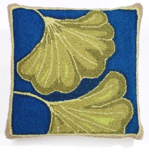 """ginkgo Hook Pillow - 18"""" Four-sided figure , Teal/blue"""