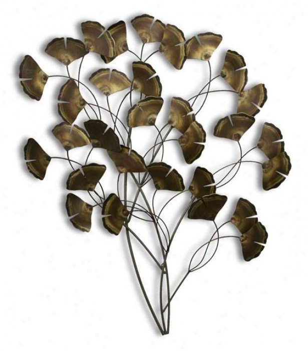 Ginkgo Tree Wall Sculpture - 39bx42wx5d, Gray