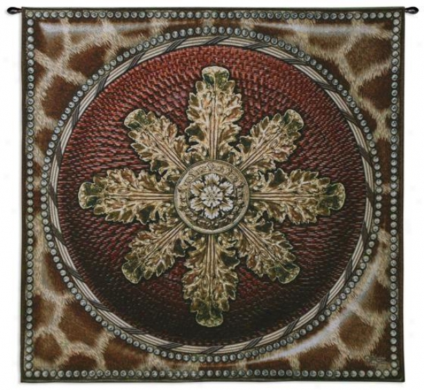 """giraff3 With Rosette Tapestry - 44""""hx44""""w, Brown"""