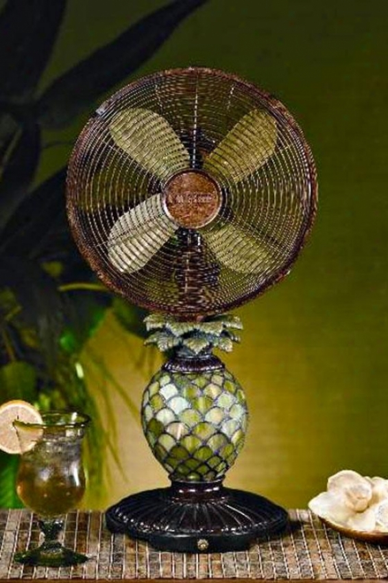 """glass Pineapple Index Top Fan - 23h X 10""""d, Green"""