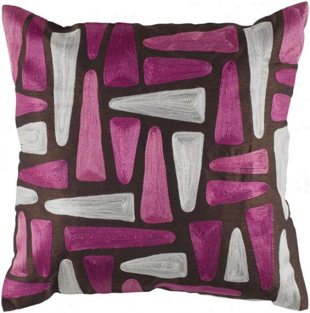 """glea mDecorative Pillow - 18"""" Square, Pink/brown"""