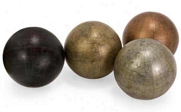 Globe Sphrres - Set Of 4 - Set Of Four, Assorted