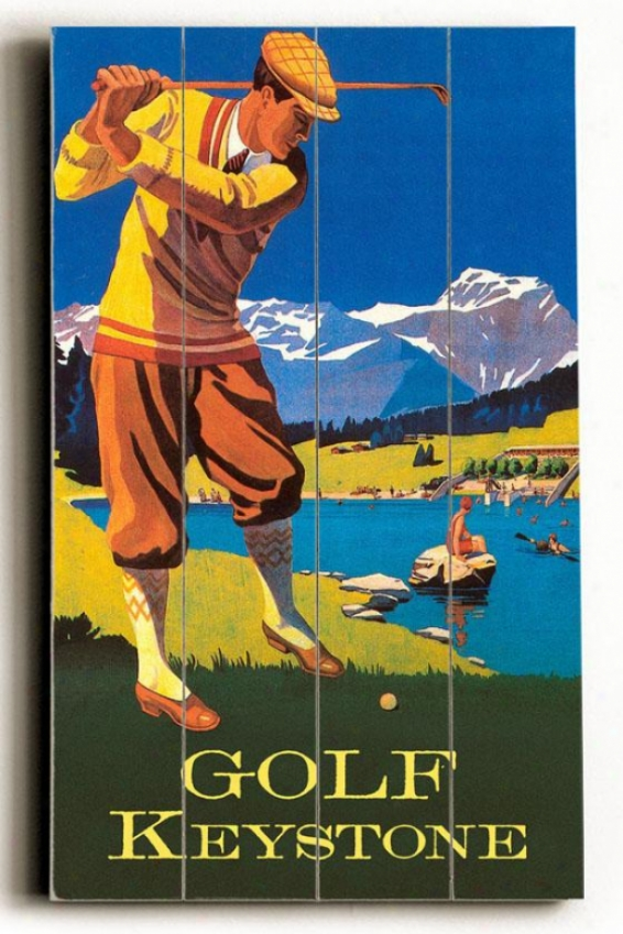 """golf Keystone Wooden Sign - 20""""h X 14""""w, Melancholy"""