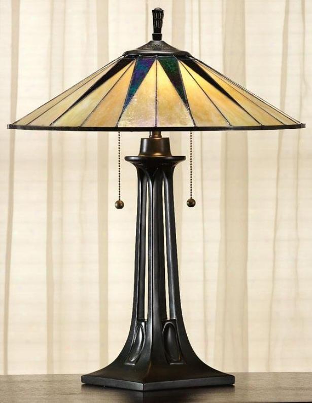"""gotham Tiffany-style Table Lamp - 25""""hx19""""d, Brown Bronze"""