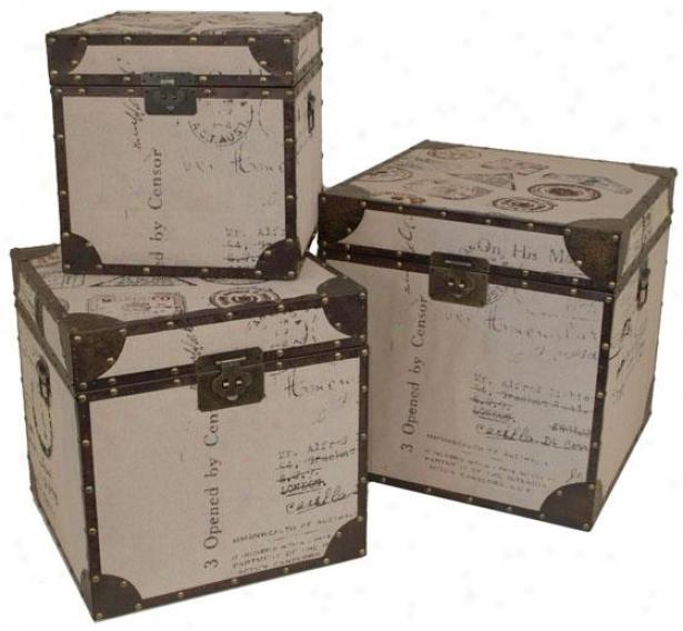 Graham Linen Trunk - Set Of Three, Ivory