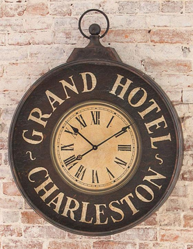 """grand Hotel Charleston Clock - 40""""hx32""""wx4""""d, Black"""