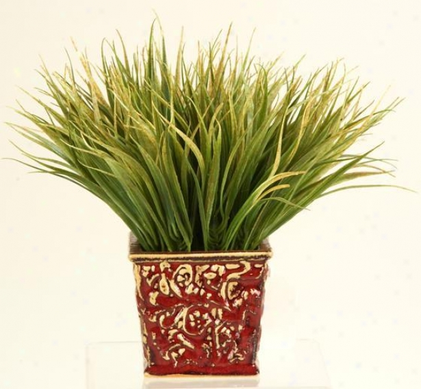"""grass In Squar eCeramic Planter - 10""""hx8""""w, Green"""