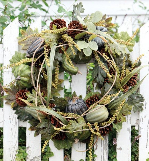"""green Heirloo Pumpkin Garland - Wreath 24""""d, Green"""