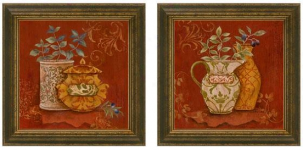Gusto Italiano Framed Wall Art - Set Of 2 - Set Of Two, Burgund