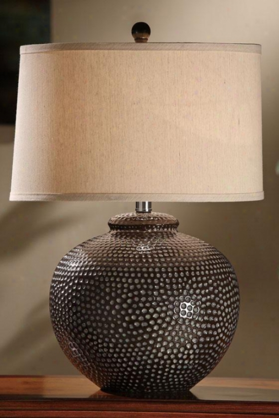 """hammered Ceramic Pot Table Lamp - 26""""h, Iron/taupe"""