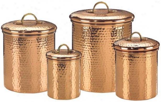 Hammered Large boiler Canister - Set Of 4 - Set Of Four, Copper