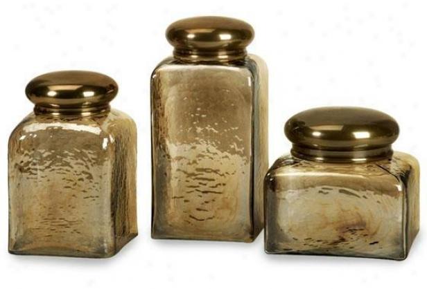 Hammered Glass Jars - Put Of 3 - Set, Copper