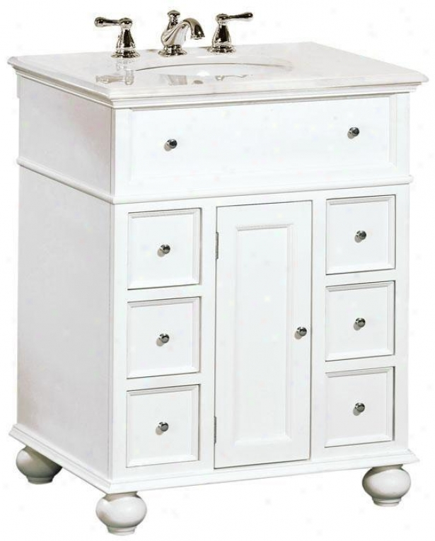 """hampton Bay 28""""w Single Bathroom Vanity With White Granite Top - White Granite, White"""