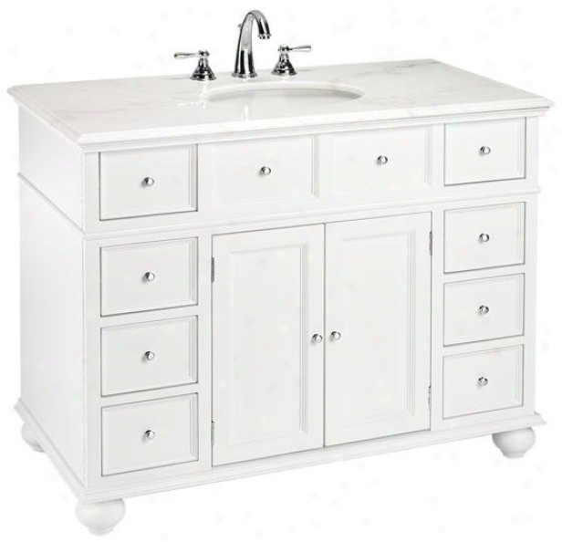"""hampton Bay 44""""w Single Bathroom Vanity With White Granite Top - White Granite, Happy"""