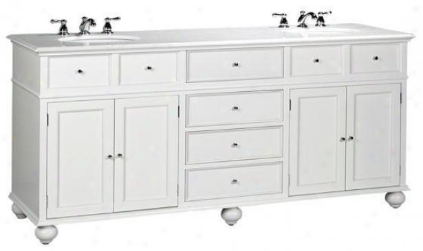 Hamptoon Bay Double Bathroom Vanity With White Granite Top - Pale Granite, White