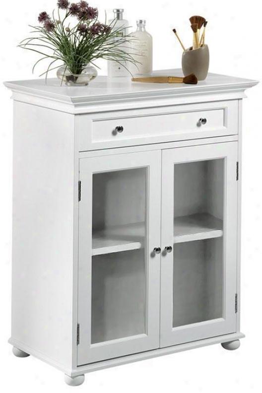 Hamptom Bay Standard Cabinet Upon Pair Glass Doors - Glass Doors, White