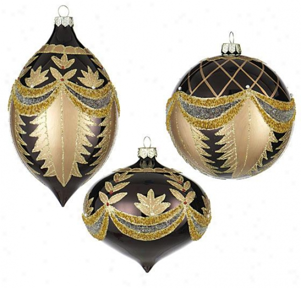 Possession Painted Glass Ornaments - Set Of 3 - 100mm, Bronze