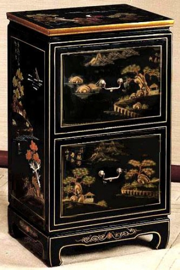Hand-painted Milieu 2-drawer File Cabinet - Two-drawer, Black