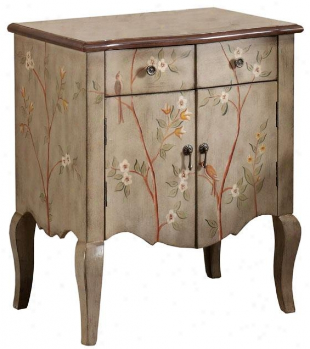 """""""hand-painted Nest Cabinet - 30""""""""x26"""""""", Grey W/flowers"""""""