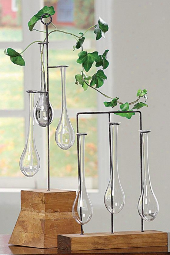 """hanging Vases Wuth Stand - 14""""hx11""""wx3""""d, Brown"""