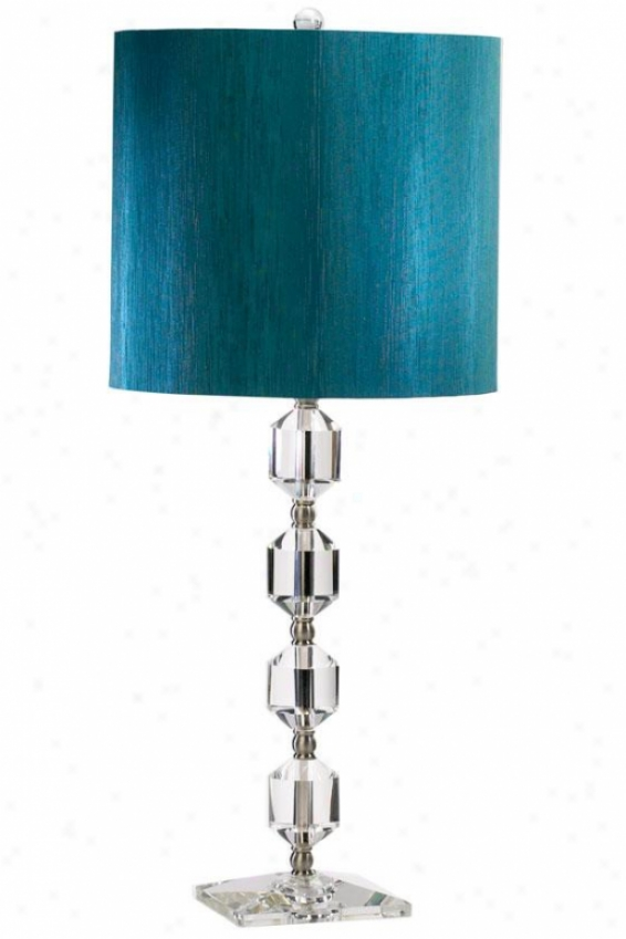 """hanover 12.25""""w Table Lamp - 28""""h, Crystal/teal"""