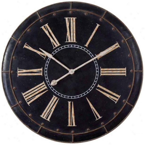 """hartford Wall Clock - 36 X 36 X 3""""d, Black"""