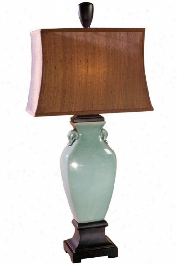 """hastin Table Lamp - 35""""hx16""""w, Turquoise"""