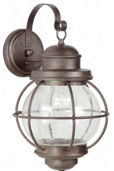 Hatteras Outdoor Wall Lantern - Large, Gilded Copper