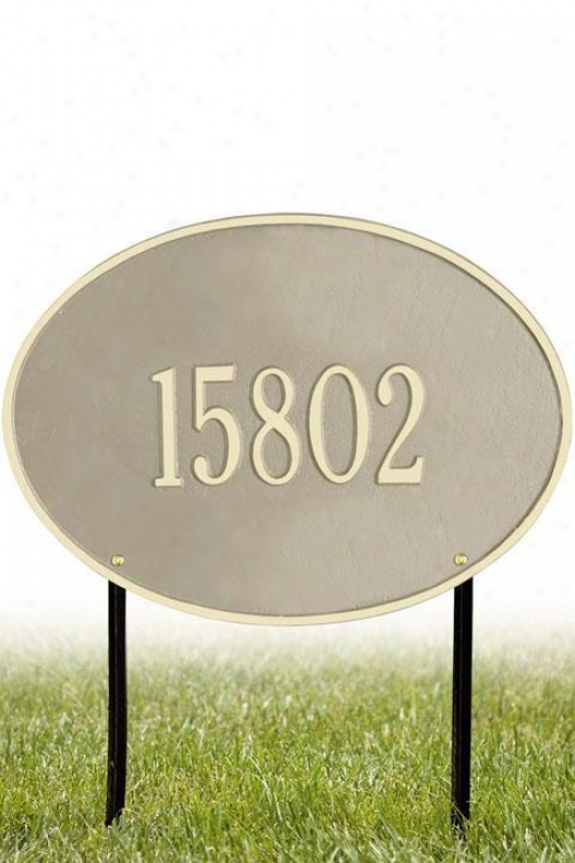 Hawthorne One-line Estate Lawn Address Plaque - Estate/one Line, Beige