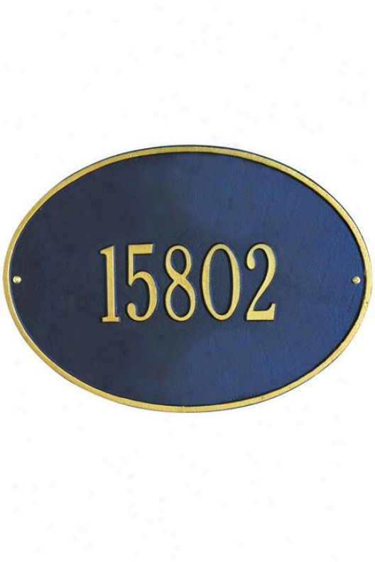 Hawthorne One-line Estate Wall Address Plaque - Estate/one Line, Navy Blue