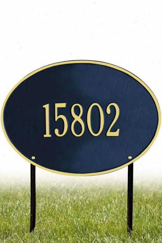 Hawthorne One-line Standard Lawn Superscription Flat plate of metal - Standard/1 Lime, Navy Blue